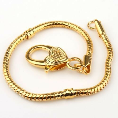 3pcs-Gold-Plated-Heart-Snake-Chain-Bracelet-Fit-European-Charm-Beads-Free-Ship