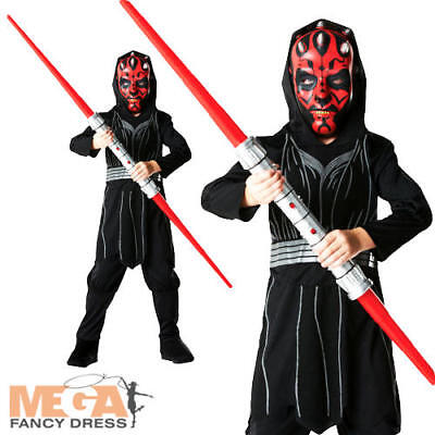Darth Maul Boys Star Wars Halloween Fancy Dress Costume Child Kids Outfit + Mask