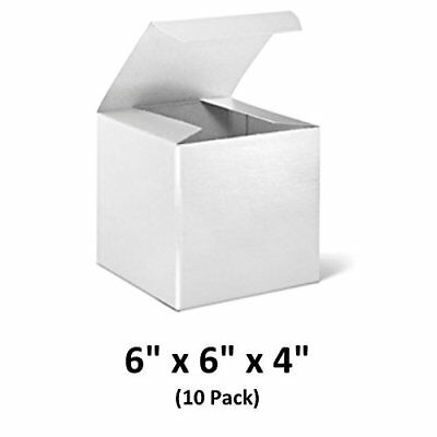 White Cardboard Tuck Top Gift Boxes With Lids 6x6x4 10 Pack