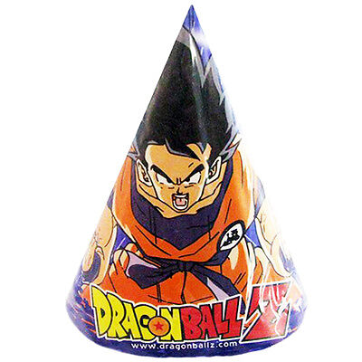 DRAGON BALL Z CONE HATS (8) ~ Anime Birthday Party Supplies Favors Paper DBZ - Cone Hats