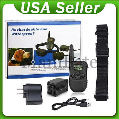 300 Yard Rechargeable LCD 100LV Level Shock Vibra Remote Pet Dog Training Collar on Rummage