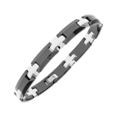 Black Ceramic & Stainless Steel Bracelet cross design