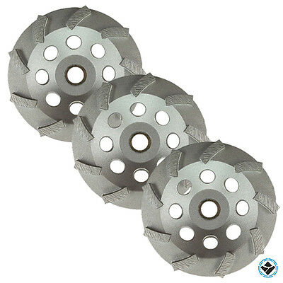 3 Pack -4.5 Diamond Grinding Cup Wheel Turbo Swirl 9 Segs Non-thread 58-78