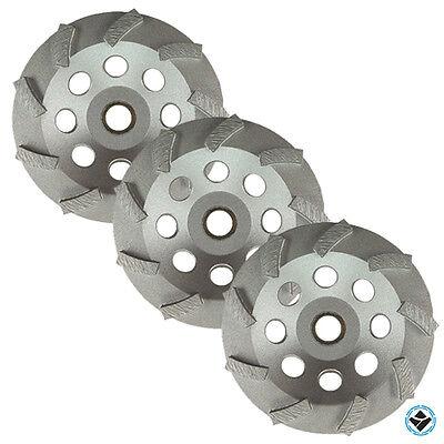 3 Pack -4.5 Diamond Grinding Cup Wheel Turbo Swirl 9 Segs Non-thread 58-78