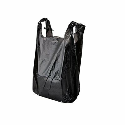 200 Black Plastic T-shirt Shopping Bags Handles Retail Grocery 11.5
