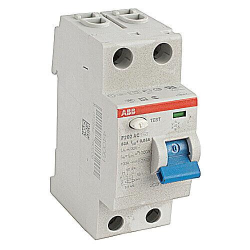 F202AC-63/0.03, ABB, Residual Current Device, F200 2P 63A 30MA