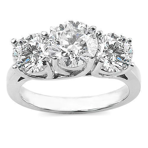 GIA Certified 1.35 Cts Natural Diamonds Three-Stone Ring In Solid 14K White Gold