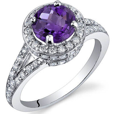 Majestic 1.25 Carats Amethyst Sterling Silver Ring in Sizes 5 to 9 Style SR9868 1.25 Carats Amethyst Ring