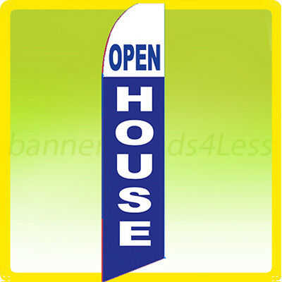 Open House - Swooper Flag Feather Flutter Banner Sign 11.5 Tall - Bb