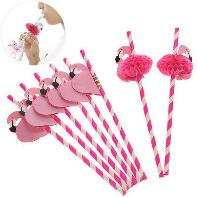 10PC Flamingo Cocktail Drinking Straws Hawaii Beach Birthday Party Decor Fashion (Flamingo Decorations)