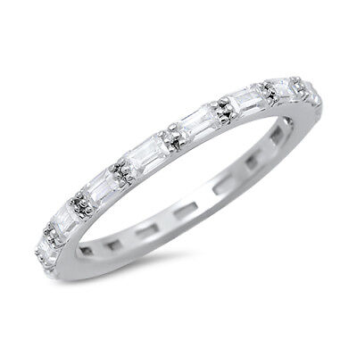 Silver Baguette Ring (Baguette Cubic Zirconia Eternity Band .925 Sterling Silver Ring Sizes 4-10)