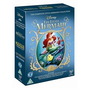 THE LITTLE MERMAID COMPLETE DISNEY MOVIE COLLECTION 3 DISC DVD BOX SET