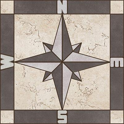 Porcelain Tile Square Compass Rose Mosaic Medallion - Flooring Wall Backsplash