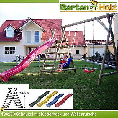 HOQ Schaukel aus Holz mit Podest Kinderschaukel Gartenschaukel Rutsche NEU PFG