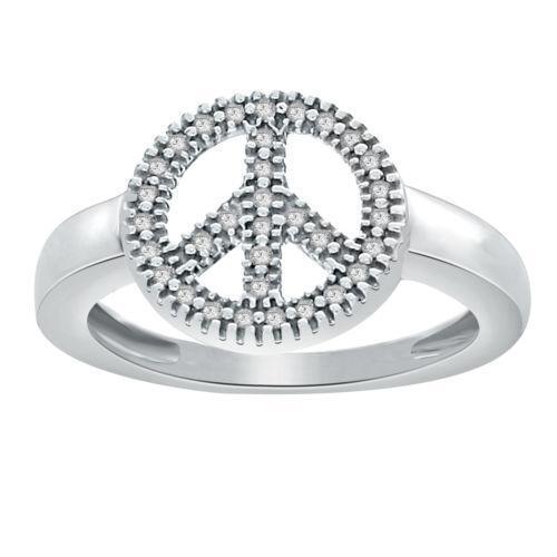 Diamond Peace Sign Ring Ebay