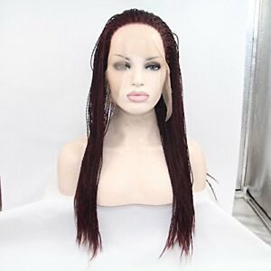 Braided Lace Front Wigs (Burgundy)