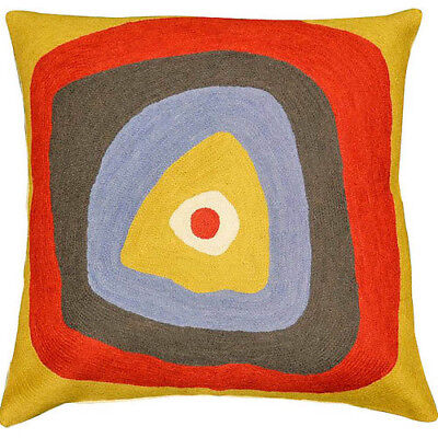 """Kandinsky Pillow Cover Ruby Square Needlepoint Hand Embroidered Wool 18x18"""""""