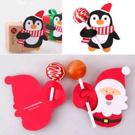 CHRISTMAS PENGUIN SANTA LOLLY CARD PRESENT GIFT