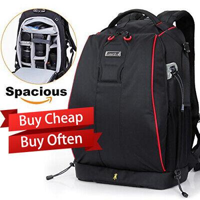 DSLR SLR Camera Backpack LARGE Rucksack Bag Case+Rain Cover For Nikon Sony Canon