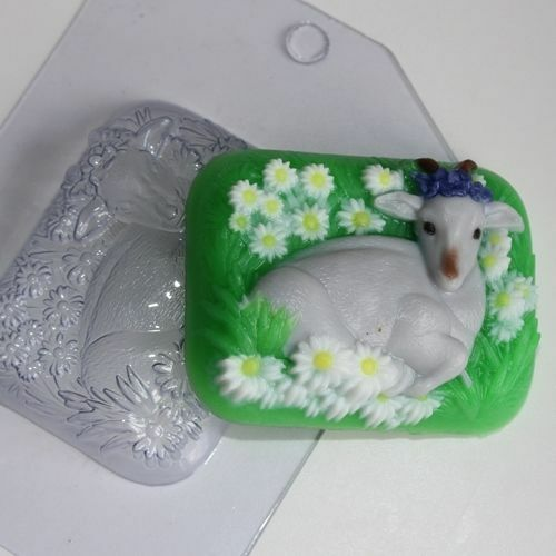 """Goat on a meadow"" plastic soap mold soap making mold mould"