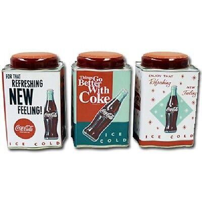 COCA COLA COKE METAL 3PC TEA CADDY RETRO CANISTER SET   NEW!