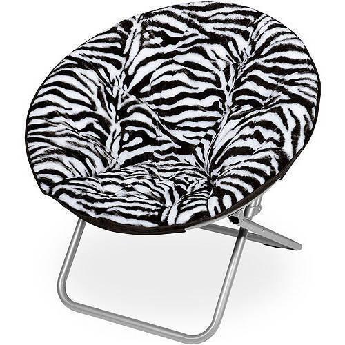 Groovy Details About Zebra Print Saucer Chair Round Folding Portable Kids Dorm Faux Fur Black White Pabps2019 Chair Design Images Pabps2019Com