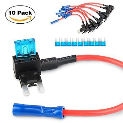 GOOACC 10 Pack 12V Car Add-a-circuit Fuse TAP Adapter Mini ATM APM Blade Holder