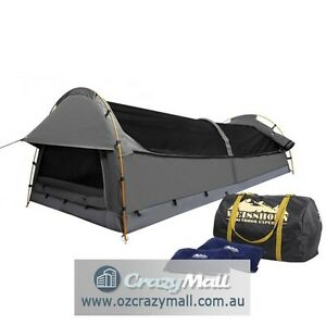 Double Swag Camping Tent w/ Pillows Bag Celadon/Green/Navy/Grey Melbourne CBD Melbourne City Preview