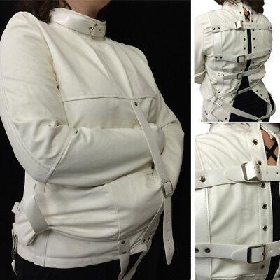 Halloween Costume Straight Jacket Restraint Costume Cosplay White Faux Leather - Straight Jacket Costumes