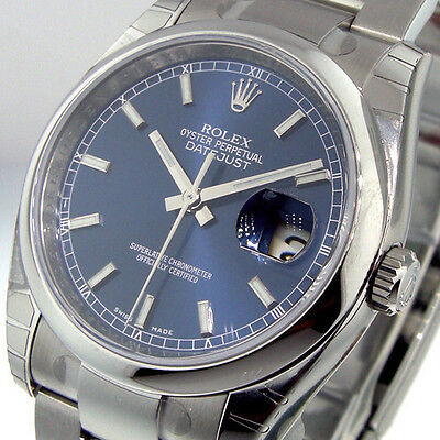 $5700.00 - UNWORN ROLEX DATEJUST 116200 STEEL 36 mm OYSTER BRACELET BLUE STICK DIAL 116200
