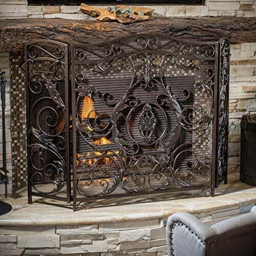 Black Gold Finish Fireplace Screen 3 Panel Folding Wrought Iron Arch Scrollwork
