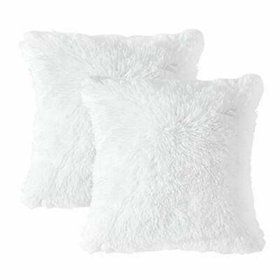 MIULEE Pack of 2 Luxury Faux Fur Throw Pillow Cover Deluxe 20''x20'' White