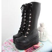 Knee High Black Gothic Boots