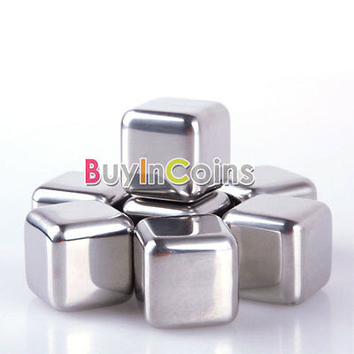 1-8Pcs Stainless Ice Cubes Glacier Rocks Drink ...