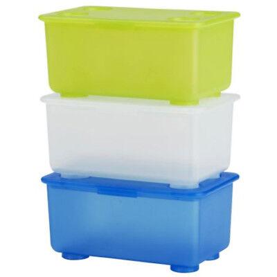 IKEA GLIS BOXEN BOX mit Deckel Kiste Aufbewahrung 3er Set blau, grün, weiß NEU ()