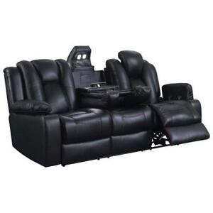 Picket House USP343309P Starship 3-Seat Leather Power Recliner Home Theatre Seating with Console - Black  (new other)