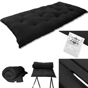 Solid Black Japanese Tatami Mat Floor Mattresses Rolling Bed 3