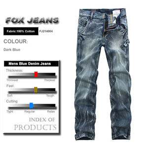 NEW-MENS-FOXJEANS-DENIM-MENS-BLUE-JEANS-SIZE32-34-36-38-40-42-44-46