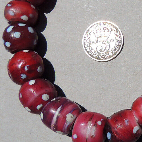 15 old antique venetian round dot white heart fancy beads african trade #1860