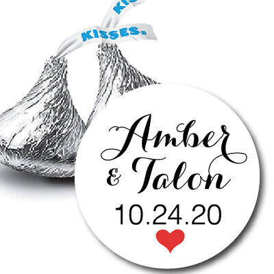 108 Names and Wedding Date with Heart Hershey Kiss Labels Stickers Favors Kisses Wedding Favors