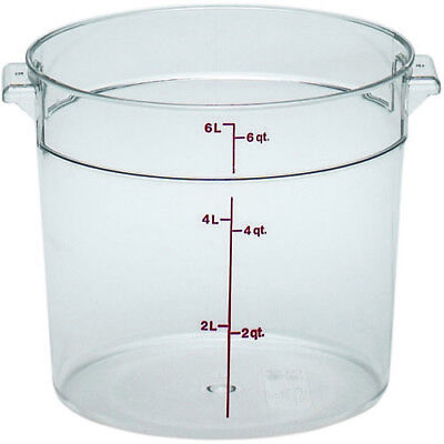 Cambro RFSCW6135 Round Storage Container Clear 6 Qt. (lid sold separately) Cambro Storage Container Lid