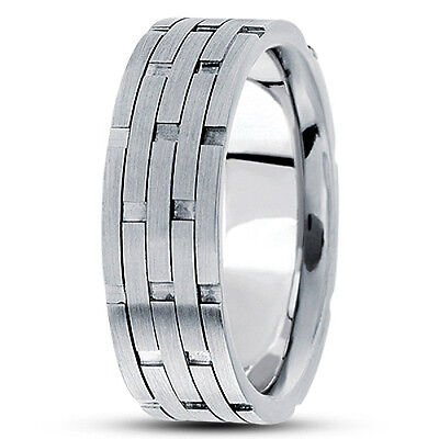 Brick Design Wedding Band Ring (NEW MENS 14k WHITE GOLD BRICK DESIGN WEDDING BAND SATIN FINISH RING 7.5mm S10 )