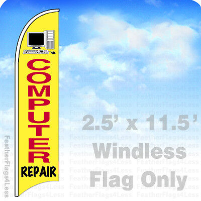 Computer Repair Windless Swooper Feather Flag 2 5X11 5 Banner Sign Yb