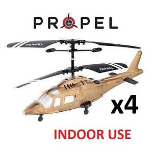 4 NEW MICRO WIRELESS RC HELICOPTER PL-1255 216883493 PROPEL INDOOR TOY BEGINNER AGES 8+ RC RADIO REMOTE CONTROLLED GOLD