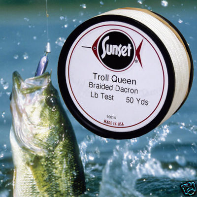 Troll Queen Braided Dacron Fish Line 50 Yd, 75 # Test  for sale  Shipping to Canada