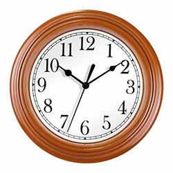 Foxtop Kitchen Wall Clock Battery Operated 9 Inch Silent Non-Ticking Quartz S...