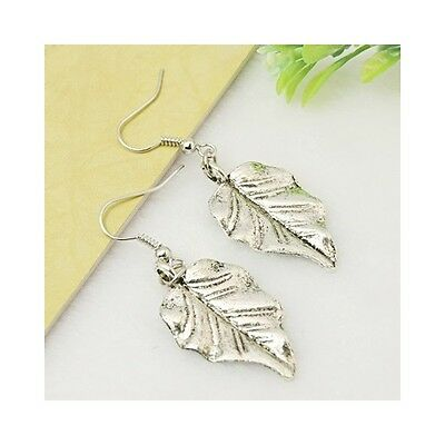 Wholesale Lot 12 Pairs Silver Tone Natural Striated Leaf Dangle Earrings
