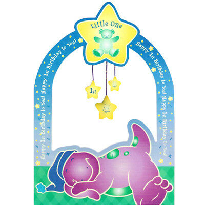 BARNEY 1st BIRTHDAY PHOTO HOLDER CENTERPIECE ~ First Party Supplies Decoration - Barney Birthday Party Supplies