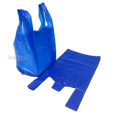 100 x BLUE PLASTIC VEST CARRIER BAGS 12