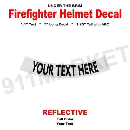 Custom Reflective Helmet Decal Under The Brim Sticker Fire FD - Custom reflective helmet decals stickers
